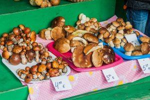 riga central market mushroom stall